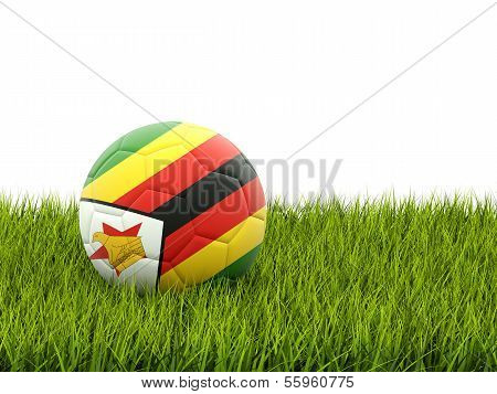 Football With Flag Of Zimbabwe