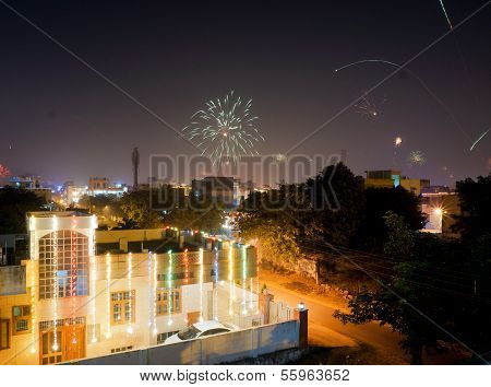 Lighted House With Fireworks In India
