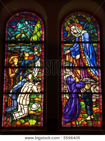 Virgin Mary Stained Glass Notre Dame Catherdral Saigon Vietnam