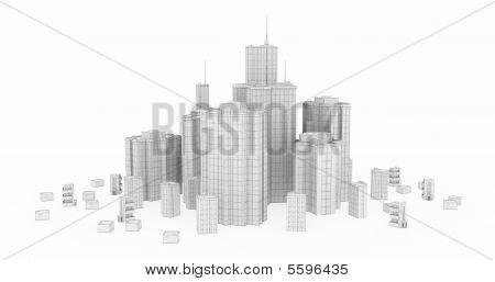 Glas en staal, witte Wireframe modellen