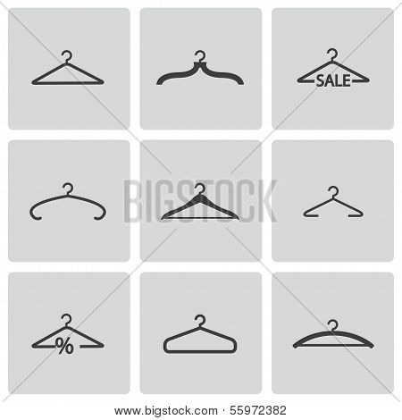 Vector black hanger icons set