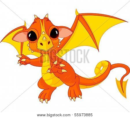 Illustration of Cute Cartoon baby dragon flaying. Raster version.