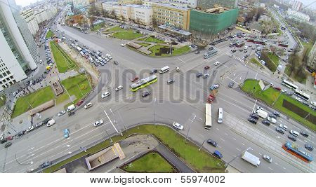 Preobrazhenskaya square in Moscow, Russia. View from unmanned quadrocopter