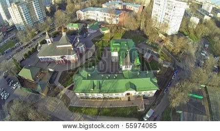 Church of Transfiguration Savior in Bogorodskoe in Moscow, Russia. View from unmanned quadrocopter