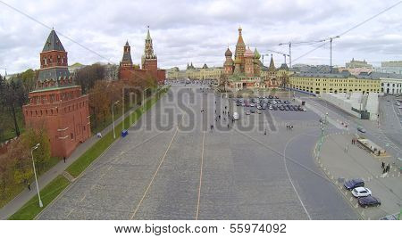 Vasilevsky descent in Moscow, Russia. View from unmanned quadrocopter