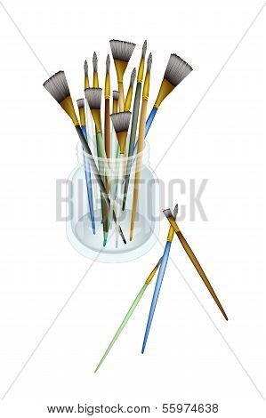 Various Size of Artist Brushes in Jar