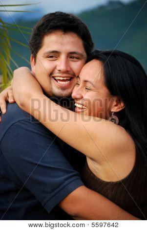 Attractive Hispanic Couple in Love