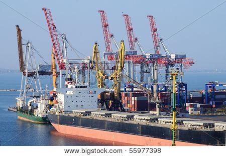 Container ship in Odessa sea port,Ukraine