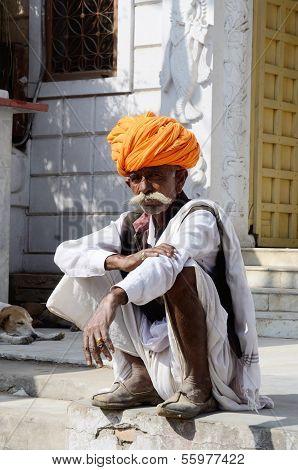 Old man with traditional rajput headdress - turban at Pushkar,India