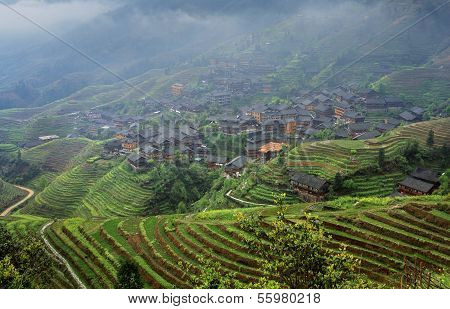 Agricultural Spring Landscape With Mountain Village, East Asia, Rural China.