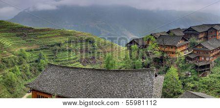 Asian Rice Terraces Near Chinese Village Peasant Farmers Ploughmen.