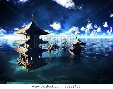 Buddhist temple over the lake