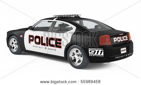 Police car back. Sport and modern style.