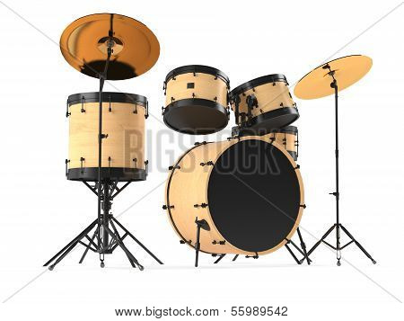 wooden drums isolated. Black drum kit.