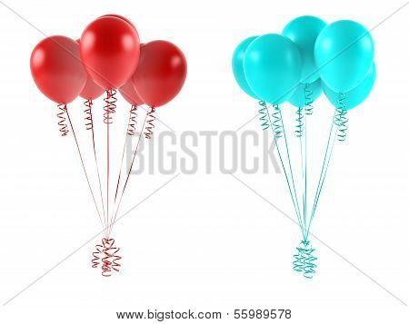 Multicolor balloons isolated. Red and blue