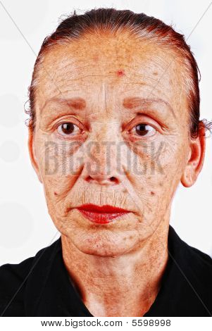 Senior Woman With Old Skin Face