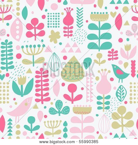 Gentle floral background with cute birds in vector. Seamless pattern can be used for wallpapers, pattern fills, web page backgrounds, surface textures. Gorgeous vector background in stylish colors