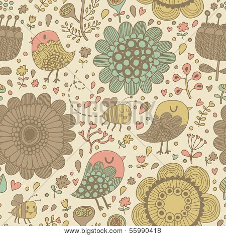 Gentle seamless pattern made of summer flowers, birds and bees in vector. Seamless pattern can be used for wallpapers, pattern fills, web page backgrounds, surface textures. Gorgeous floral background