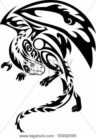 Isolated tattoo of black dragon flying