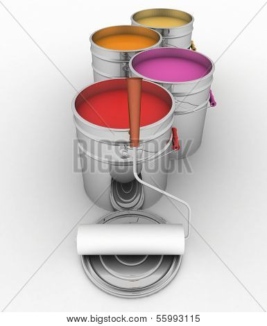 open buckets with a paint, brush and rollers