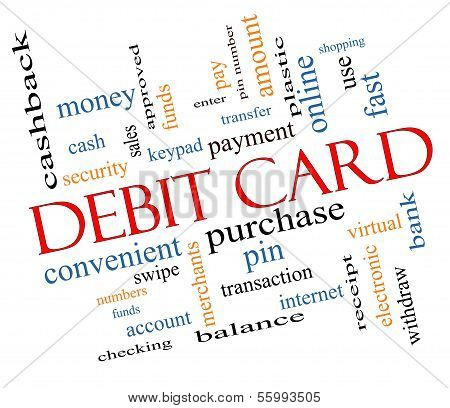 Debit Card Word Cloud Concept Slanted