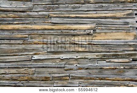 Old Wall Of Wooden Sheds.