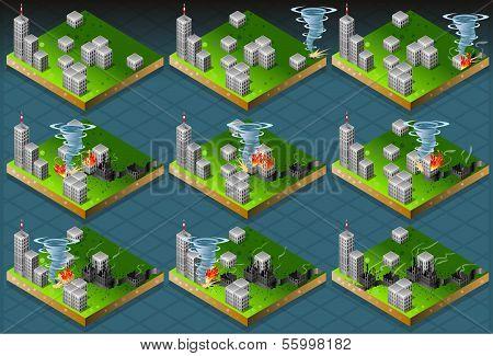 Isometric Natural Disaster Tornado Classifications Scale