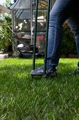 picture of aeration  - Woman is aerating lawn by manual aerator in back yard - JPG