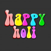 Indian festival Happy Holi celebrations with stylish colorful text Happy Holi on dark background.