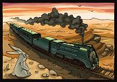 stock photo of wild-rabbit  - The wild rabbit is looking at the moving train with a steam locomotive in a desert.