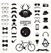 stock photo of moustache  - Hipster Black and White Retro Vintage Vector Icon Set - JPG