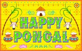 picture of kalash  - illustration of Happy Pongal background in Indian truck style - JPG