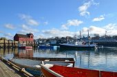 foto of lobster boat  - A harbor in Rockport is home of fishing vessels - JPG