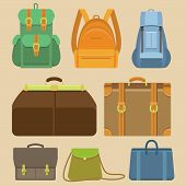 foto of knapsack  - Vector set of flat icons  - JPG