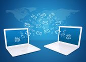 picture of ebusiness  - Two laptops exchange letters - JPG
