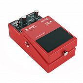 guitar pedal isolated. Red color