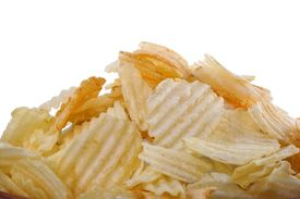 picture of crip  - stack of potato crips or chips isolated - JPG