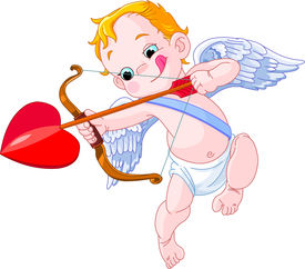 picture of cupid  - Valentines Day Cupid ready to shoot his arrow - JPG