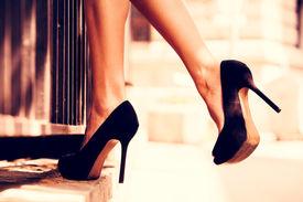 picture of short legs  - woman legs in high heel shoes outdoor shot - JPG