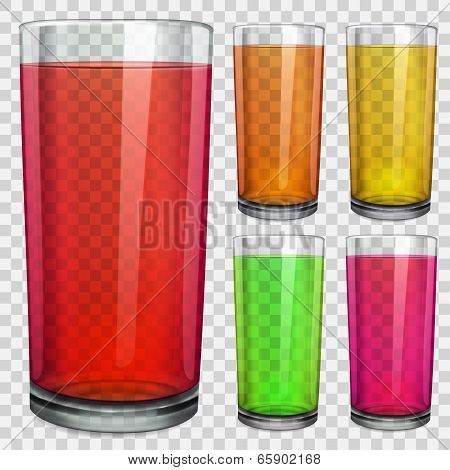 Transparent Glasses With Transparent Colored Juice