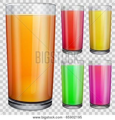 Transparent Glasses With Opaque Colored Juice