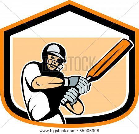 Cricket Player Batsman Batting Shield Cartoon