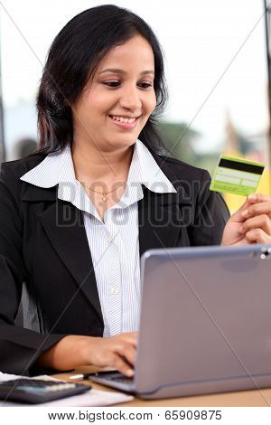 Young Business Woman Doing Online Shopping