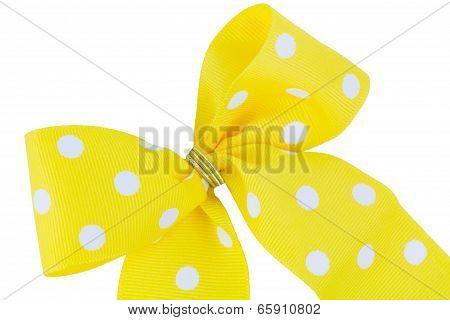 Yellow And White Ribbon Bow on white