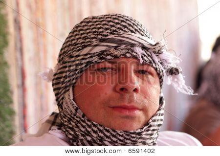 Man Poses In Bedouin Tent
