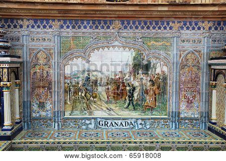 Ceramic Tile Mural At Plaza De Espana In Seville, Spain