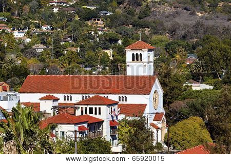 White Adobe Methodist Church Cross Santa Barbara California
