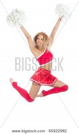 Cheerleader Dancer From Cheerleading Team Jumping