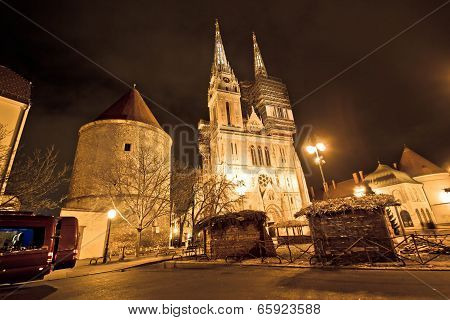 Zagreb Cathedral Night Christmas View