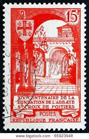 Postage Stamp France 1952 Abbey Of The Holy Cross, Poitiers